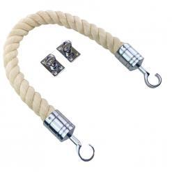 natural cotton barrier rope with polished chrome hook and eye plates 2