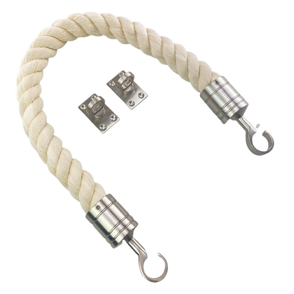 natural cotton barrier rope with satin nickel hook and eye plates 2