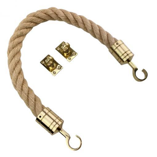 natural jute barrier rope with polished brass hook and eye plates 2