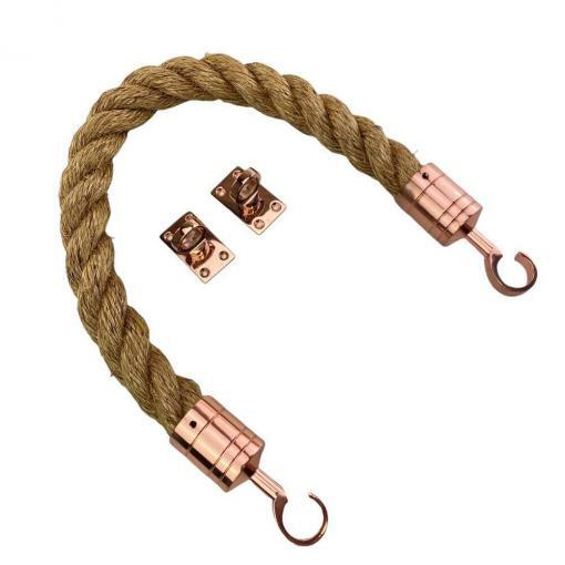 natural manila barrier rope with copper bronze hook and eye plates 2
