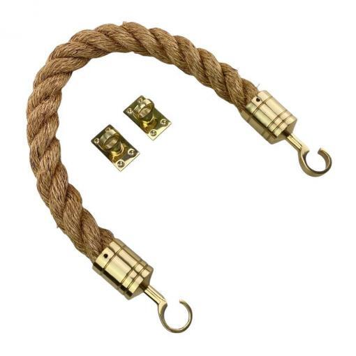 natural manila barrier rope with polished brass hook and eye plates 2