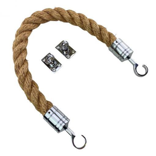 natural manila barrier rope with polished chrome hook and eye plates 2