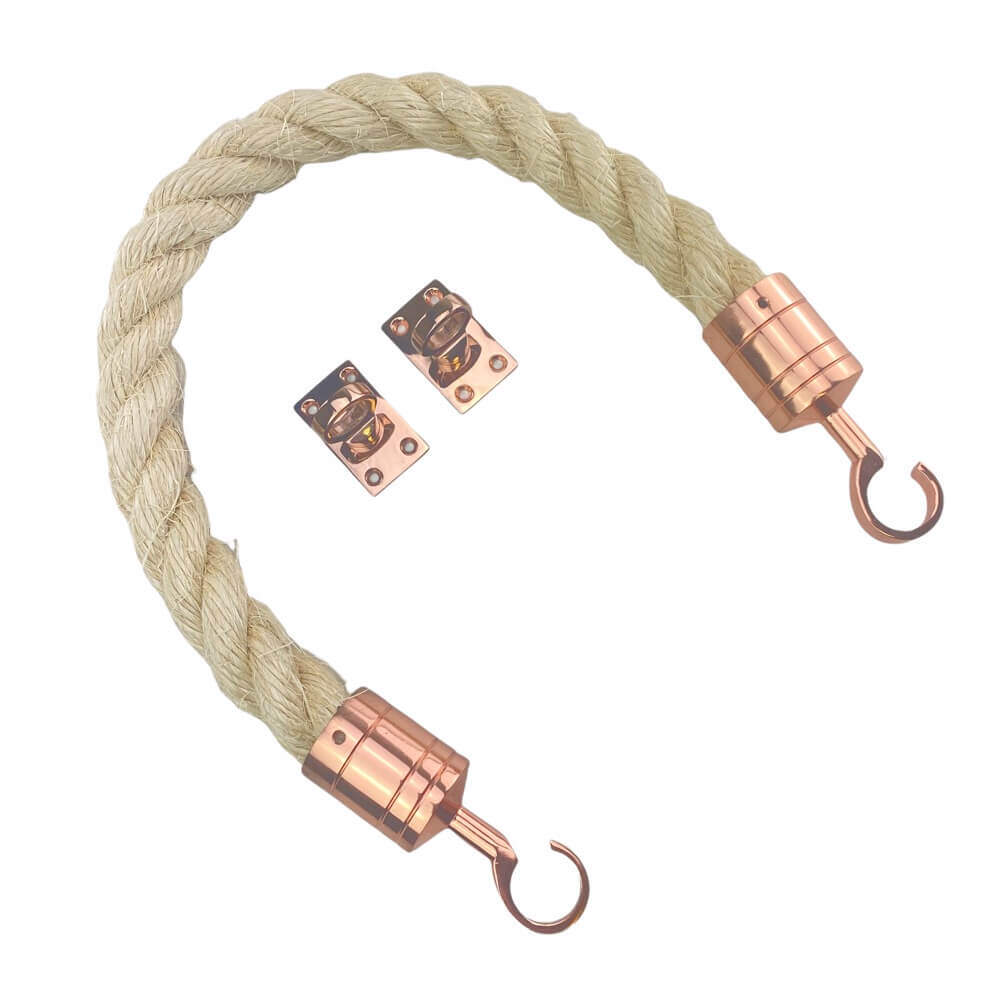 natural sisal barrier rope with copper bronze hook and eye plates 2
