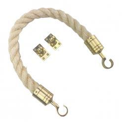 natural sisal barrier rope with polished brass hook and eye plates 2