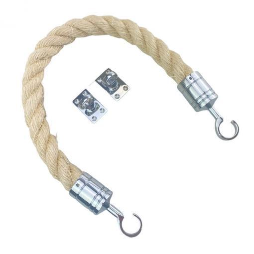 natural sisal barrier rope with polished chrome hook and eye plates 2