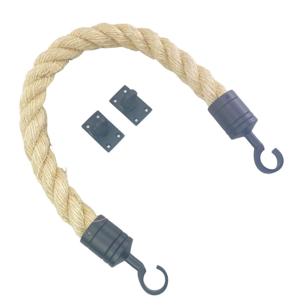 natural sisal barrier rope with powder coated black hook and eye plates