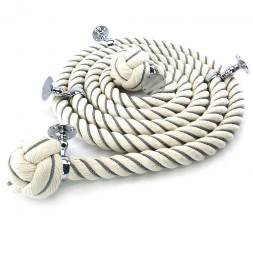 natual cotton bannister rope with 4 polished chrome fittings and grey worming