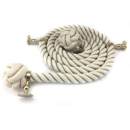natural cotton wormed bannister rope polished brass2