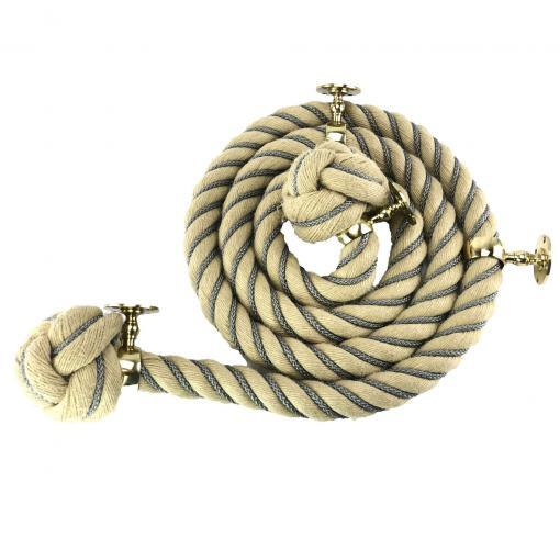 polyhemp grey wormed 4 polished chrome fittings man rope knots1