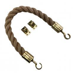 synthetic manila barrier ropes with polished brass hook and eye plates 2