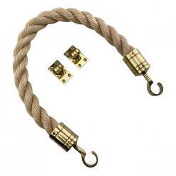 synthetic sisal barrier rope with polished brass hook and eye plates 2