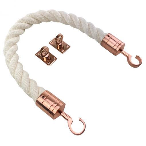 synthetic white cotton barrier rope with copper bronze hook and eye plates