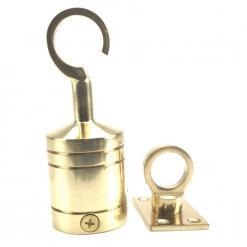 28mm polished brass hook and eye plate rope fitting 3