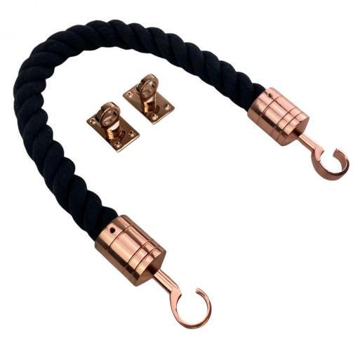 black natural cotton barrier rope with copper bronze hook and eye plates 1