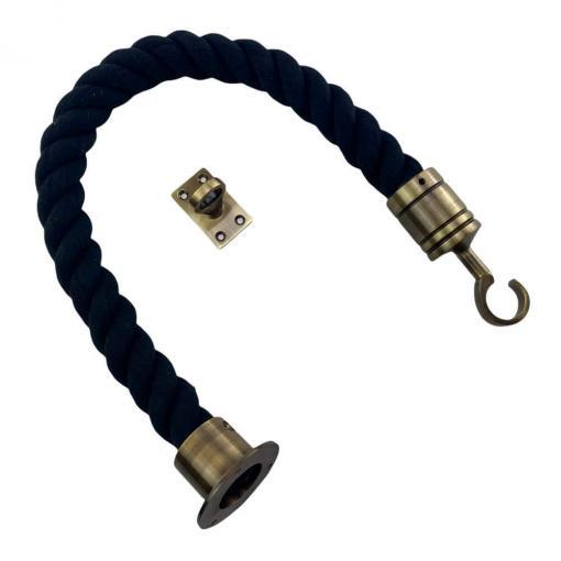 black natural cotton barrier rope with antique brass cup hook and eye plate