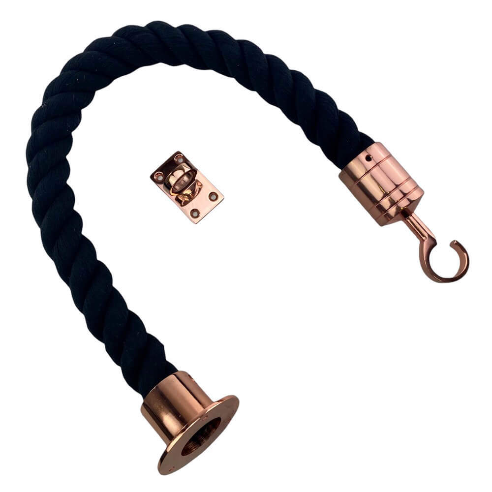 black natural cotton barrier rope with copper bronze cup hook and eye plate