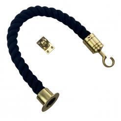 black natural cotton barrier rope with polished brass cup hook and eye plate