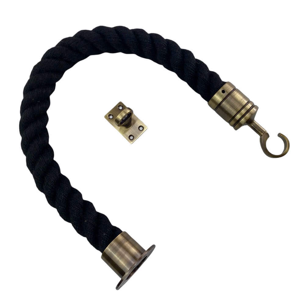black polyspun barrier rope with antique brass cup hook and eye plate