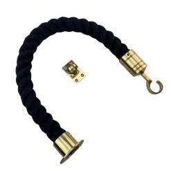 black polyspun barrier rope with polished brass cup hook and eye plate