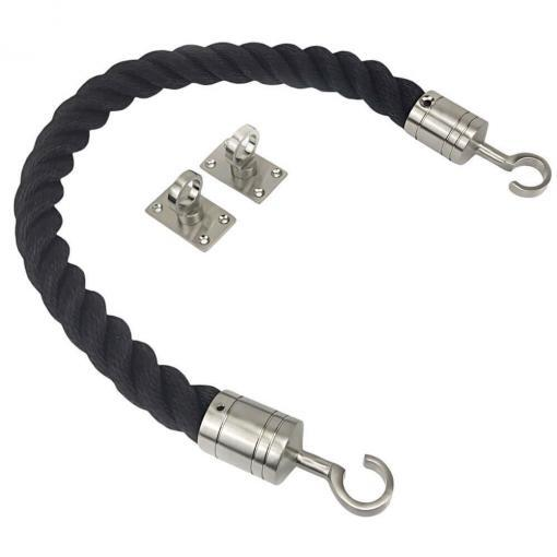 black softline barrier ropes with satin nickel hook and eye plates