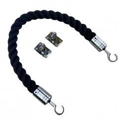 black softline multifilament barrier rope with polished chrome hook and eye plates