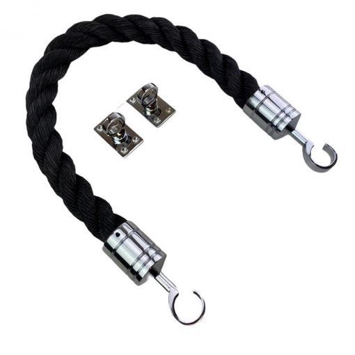 black staplespun barrier rope with polished chrome hook and eye plates