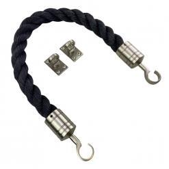 black staplespun barrier rope with satin nickel hook and eye plates