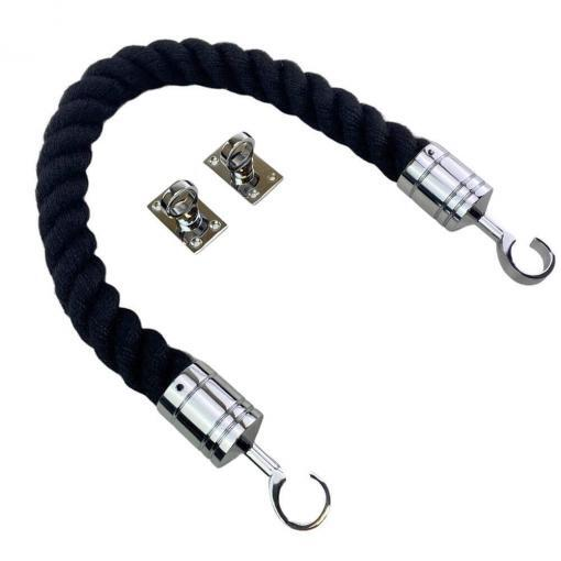 black synthetic polyspun barrier rope with polished chrome hook and eye plates