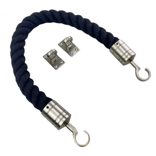 black synthetic polyspun barrier rope with satin nickel hook and eye plates