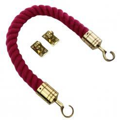 burgundy synthetic polyspun barrier rope with polished brass hook and eye plates