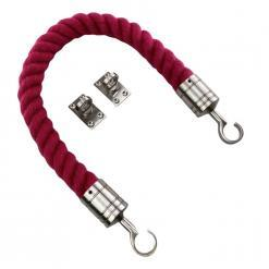 burgundy synthetic polyspun barrier rope with satin nickel hook and eye plates