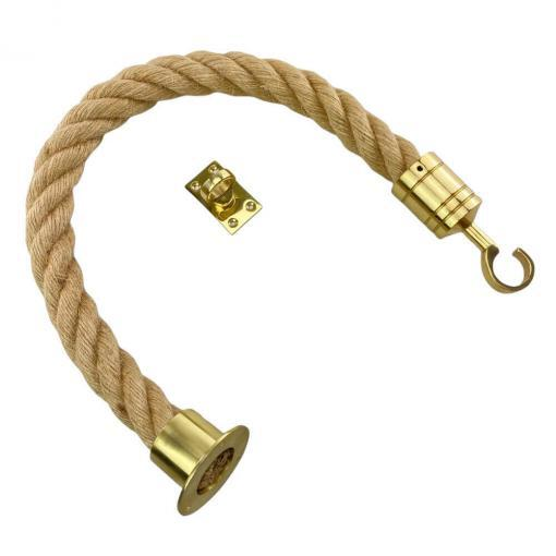natural jute barrier rope with polished brass cup hook and eye plate