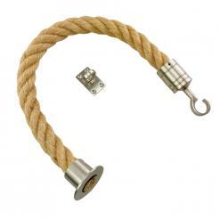 natural jute barrier rope with satin nickel cup hook and eye plate