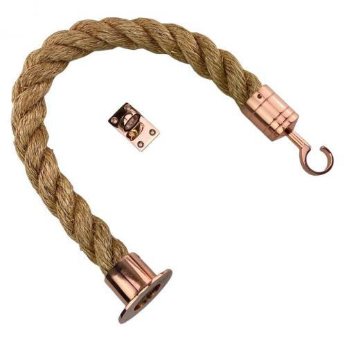 natural manila barrier rope with copper bronze cup hook and eye plate