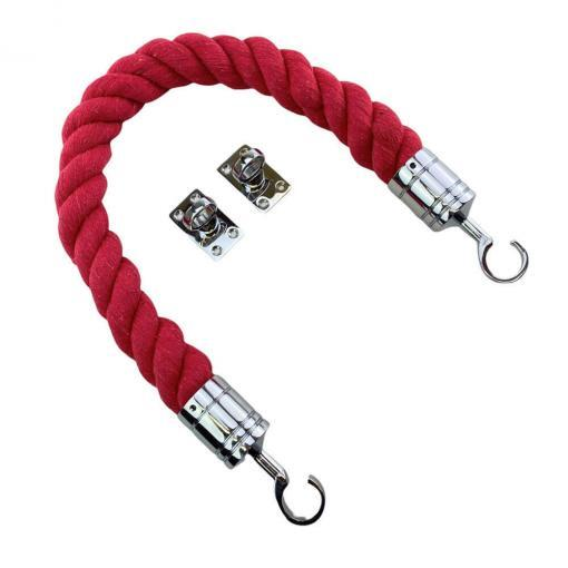 red natural cotton barrier ropes with polished chrome hook and eye plates