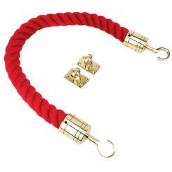 red polyspun barrier ropes with polished brass hook and eye plates