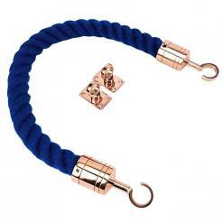 royal blue polyspun barrier ropes with copper bronze hook and eye plates
