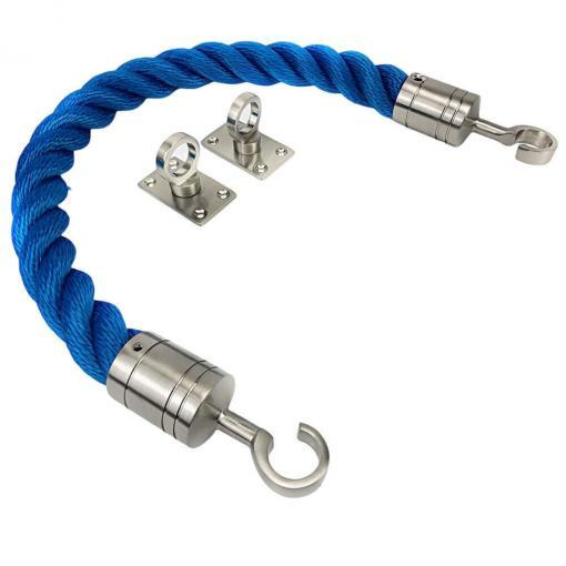 royal blue softline barrier ropes with satin nickel hook and eye plates