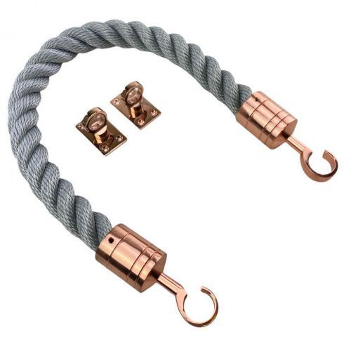 synthetic grey barrier rope with copper bronze hook and eye plates