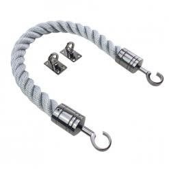 synthetic grey barrier rope with gun metal black hook and eye plates