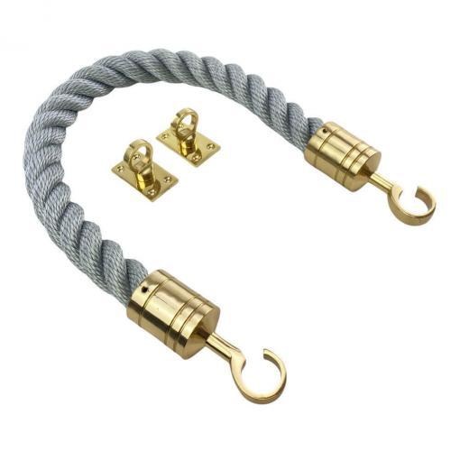 synthetic grey barrier rope with polished brass hook and eye plates