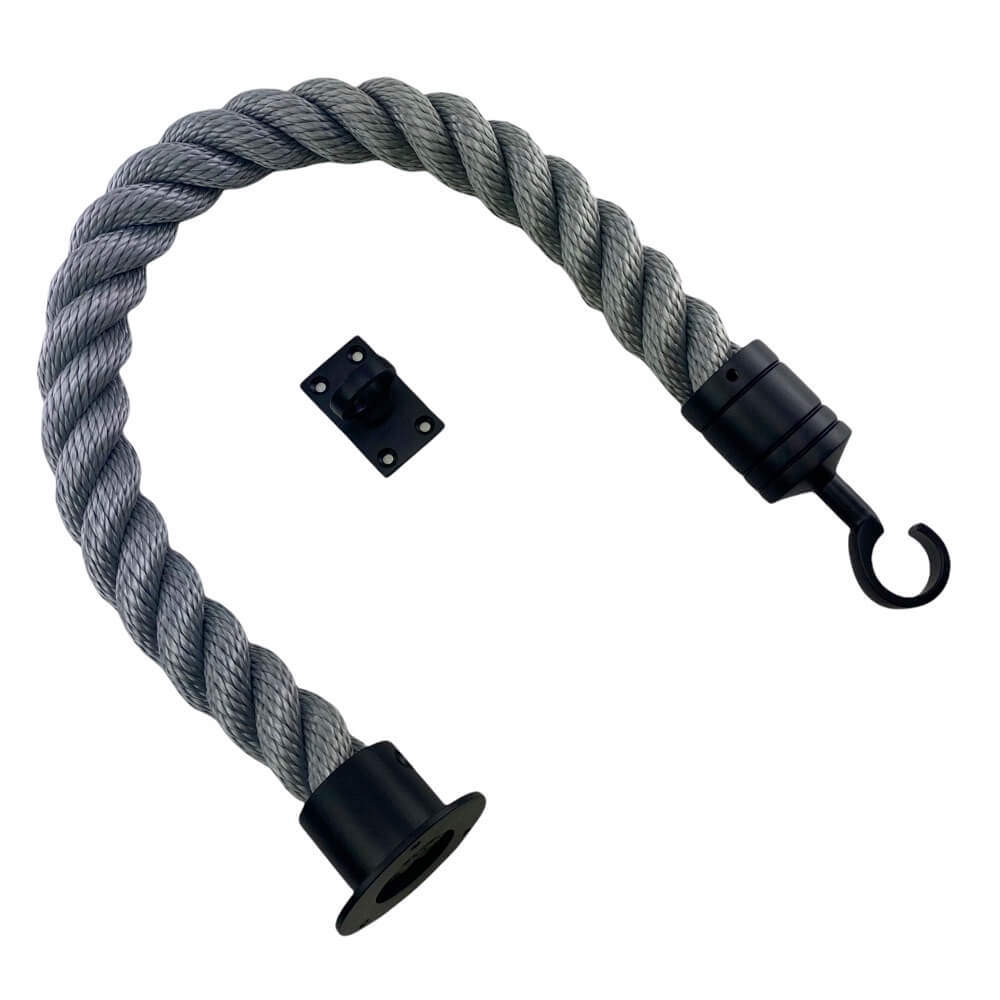 synthetic grey barrier rope with powder coated black cup hook and eye plates