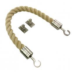 synthetic polyhemp barrier ropes with satin nickel hook and eye plates