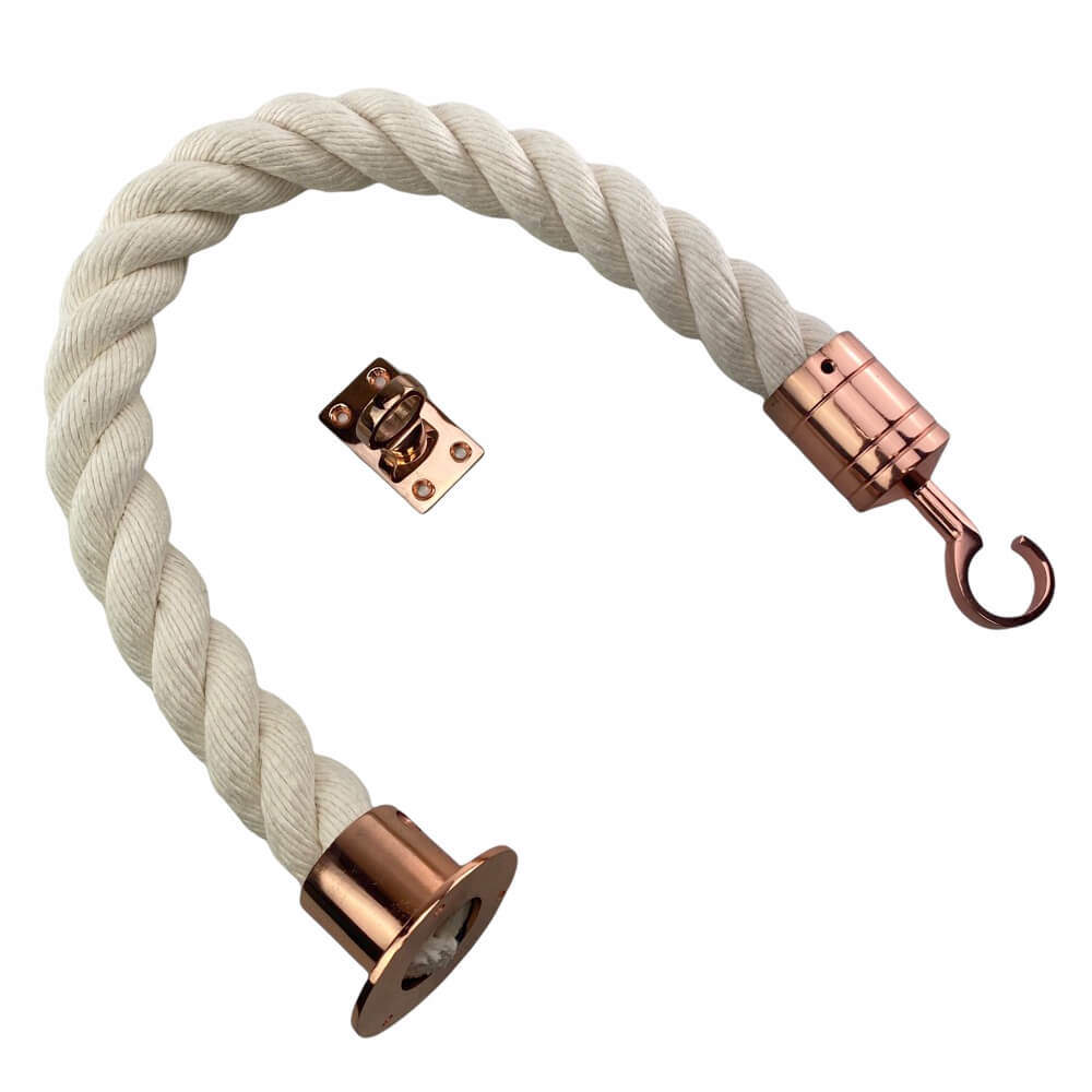 synthetic white cotton barrier rope with copper bronze cup hook and eye plates