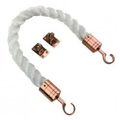 white staplespun barrier rope with copper bronze hook and eye plates