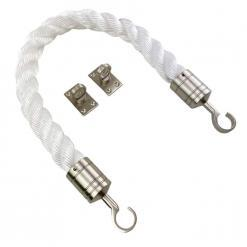 white staplespun barrier rope with satin nickel hook and eye plates