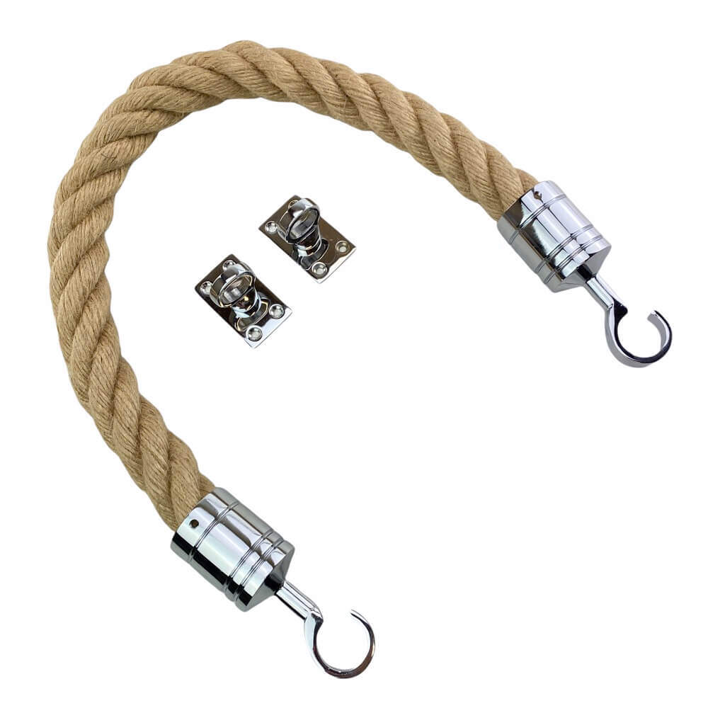 natural hemp barrier rope with polished chrome hook and eye plates