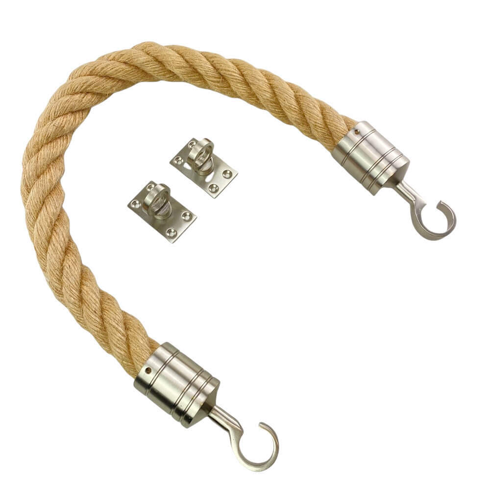 natural hemp barrier rope with satin nickel hook and eye plates