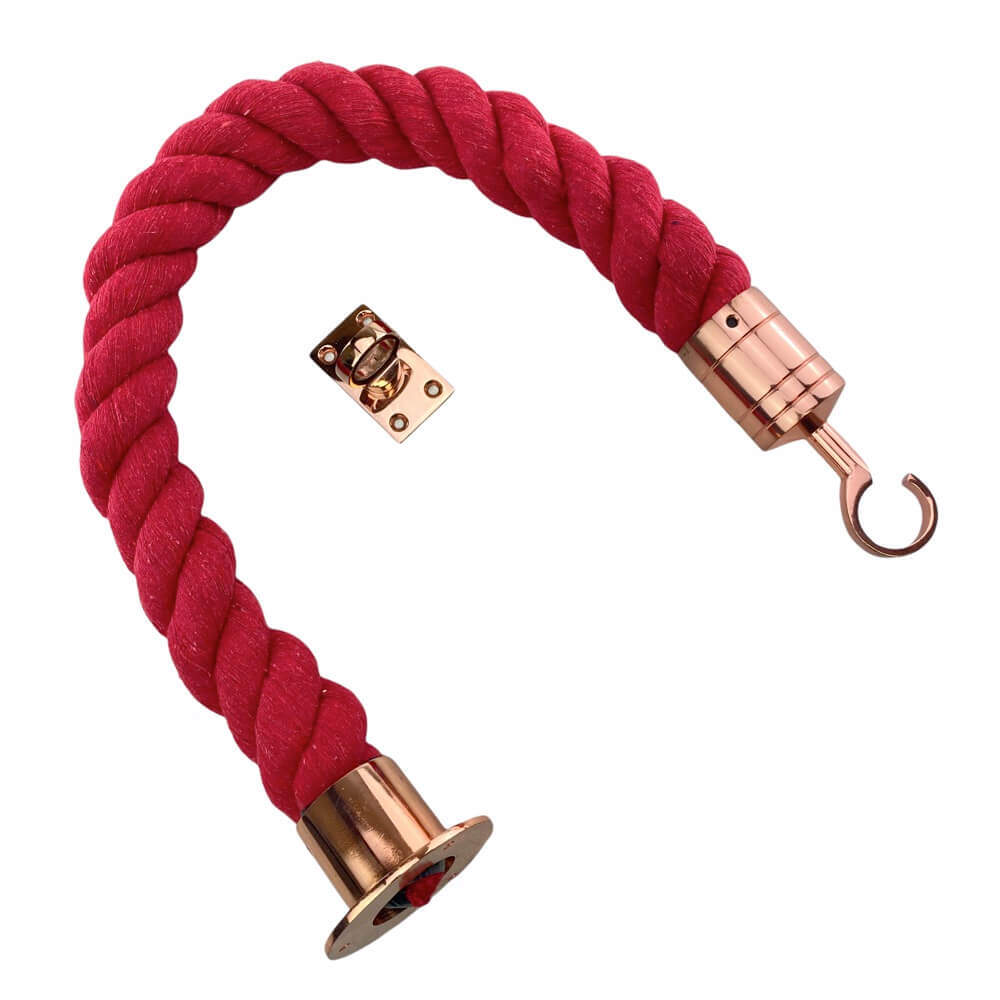 natural red cotton barrier rope with copper bronze cup hook and eye plate