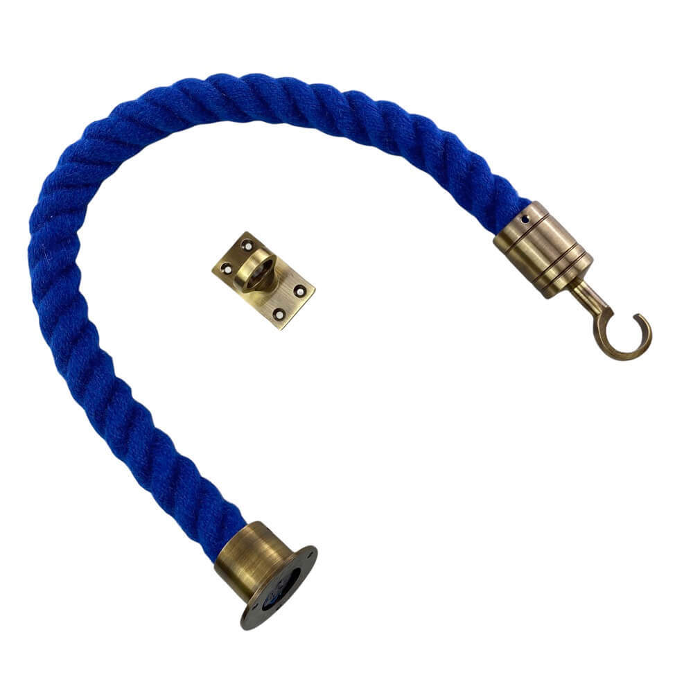 royal blue polyspun barrier rope with antique brass cup hook and eye plate